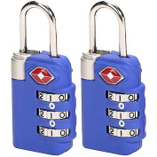 Lewis N Clark TSA23-2BLU Travel Sentry Combo Lock 2 Pack - Large 3 Dial - Blue