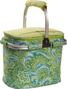 Picnic Plus PSM-148-GP Shelby Collapsible Cooler Tote - Green Paisley