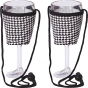 Picnic Plus Psm-167Ht Wine Glass Lanyard - 2- Houndstooth