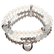 Multi Silver & Clear Beaded Bracelet with Heart Charm