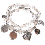 Multi Silver & Clear Bead Charm Bracelet with Hearts