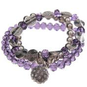 Multi Silver & Purple Bracelet with Imitation Crystal Charm