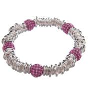 Link Bracelet with Pink Imitation Crystal Beads