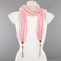 Pendant Scarf with Metal Pendants - White & Pink Frill