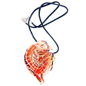 Glass Shell Pendant Necklace, Autumnal Swirl