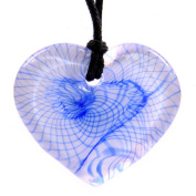 Glass Heart Shaped Pendant Necklace - Blue Spiral