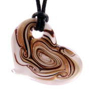 Glass Heart Shaped Pendant Necklace - Gold & Bronze Swirls