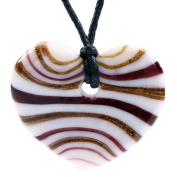 Glass Heart Pendant Necklace - Gold & Burgandy