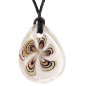 Oval Glass Pendant - Swirled White, Gold & Burgundy
