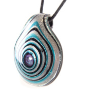 Glass Drop Pendant - Spiralled Silver, Blue & Black