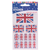 Glitter Union Jack Flag Removable Nail Stickers