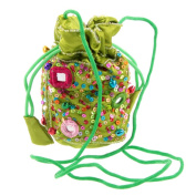 Embroidered Shimmering Sequin Pouch Purse - Vivid Green