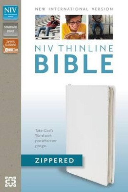 NIV, Thinline Zippered Collection Bible, Bonded Leather, White, Red Letter Edition