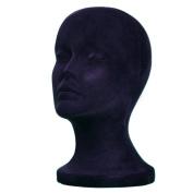 A1Pacific 27.9cm BLACK Velvet STYROFOAM FOAM MANNEQUIN MANIKIN head wig display hat glasses