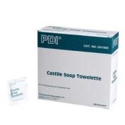 Castile soap towelette, ph balanced w/2% coconut oil soap, 100 per box