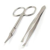 Women Flat Edge Tweezers Metal Scissors Eyebrow Trimmer Beauty Tool