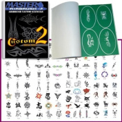 Master Airbrush® Brand Airbrush Tattoo Stencils Set Book #2 Reuseable Tattoo Template Set, Book Contains 100 Unique Stencil Designs, All Patterns Come on High Quality Vinyl Sheets with a Self Adhesive Backing.