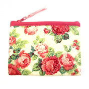 Small Cotton Cosmetic Bag/Coin Bag/Miscellaneous Bag, Large Pink Roses/Cream Background & Pink Trim