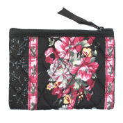 Small Cotton Cosmetic Bag/Coin Bag/Miscellaneous Bag, Pink Flowers/Black Background & Trim