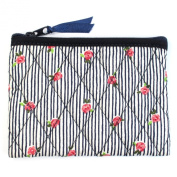 Small Cotton Cosmetic Bag/Coin Bag/Miscellaneous Bag, Small Pink Roses/Striped Blue Background & Dark Blue Trim