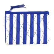 Small Cotton Cosmetic Bag/Coin Bag/Miscellaneous Bag, Striped Bluish Purple & White