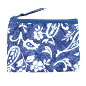 Small Cotton Cosmetic Bag/Coin Bag/Miscellaneous Bag, White Flowers & Paisley Design/Blue Background & Trim