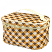 Rosallini Women Beauty Tool Grid Print Zipper Rectangle Cosmetic Beauty Bag Brown