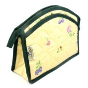 Medium Cosmetic Bag, Cotton/Light Yellow with Floral & Berry Design, Exterior & Interior Pockets, Plastic-Lined