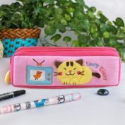 [Let's Play] Embroidered Applique Pencil Pouch Bag / Cosmetic Bag / Carrying Case