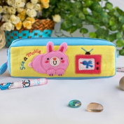 [See a Movie] Embroidered Applique Pencil Pouch Bag / Cosmetic Bag / Carrying Case
