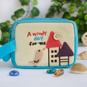 [A Windy Day For Me] Embroidered Applique Pouch Bag / Cosmetic Bag / Carrying Case
