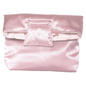 Small Reversible Cosmetic Bag With Magnet Flap Closure, Satin Pink & Cotton
