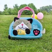[Kitty Loves Fish] Embroidered Applique Kids Mini Handbag / Cosmetic Bag / Travel Wallet