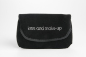 """Miamica Rhinestone Embroidered """"kiss and make-up"""" Black Velvet Pattern Make Up Case and Mirror Travel Cosmetic Bag Organiser"""
