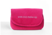 """Miamica Rhinestone Embroidered """"kiss and make-up"""" Fucshia Pink Velvet Pattern Make Up Case and Mirror Travel Cosmetic Bag Organiser"""