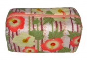 Floral Pink Japanese Kimono Print Chirimen Cosmetic Pouch