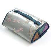 Brocade Pyramid Roll Cosmetic Bag - Light Blue