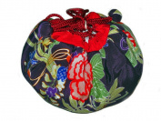 Chrysanthemum Purple Japanese Kimono Fuwafuwa Drawstring Bag M