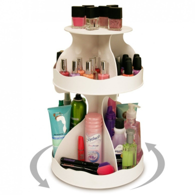 Cosmetic Organiser that Spins ! Makeup is Now at Your Fingertips. Pretty in White & Perfect for any Countertop, Almost Triples Your Storage, Only 30.5cm needed & No More Clutter!! ...Proudly Made in the USA! by PPM.