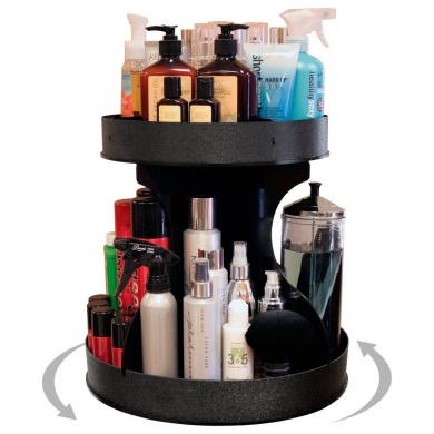 """""""Divas"""" & Professional Stylists will Love This 38.1cm base Spinning Cosmetic Organiser! 5.1cm High Sides & Centre Dividers Keep Product in Place. Proudly Made in the USA!!! by PPM."""