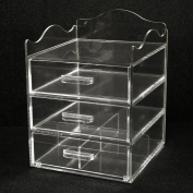 Clear Acrylic Makeup & Cosmetic Organiser,25.4cm W x25.4cm D x 33cm H, 3 Drawers with a Pretty Curved Edge on Top with Space for Storing Taller Items. Made in the USA! by PPM.