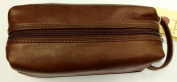 Osgoode Marley Leather Small Compact Toiletry Travel Kit - Brandy