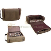 Travel Toiletry Bag with 5 Piece Manicure Set, Brown Ultra Sued, with Leather Trim, Tarnish Proof