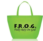 Large Fully Rely On God F.R.O.G. Nonwoven Tote Bag