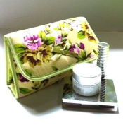 Cosmetic Bag Flower Flap Over with a Mirror, Green