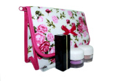 Cosmetic Bag Pink Rose Flap Over with a Mirror