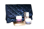 Cosmetic Bag Quilted Satin Dark Blue Flap Over with a Mirror
