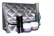 Cosmetic Bag Quilted Satin Grey Flap Over with a Mirror