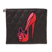 Red Stiletto Cosmetic Bag - Ohh La La Red Stilletto Black and Red Quilted Flat Makeup Cosmetic Bag