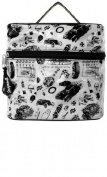"""White """"Vintage Rodder"""" with Black Hot Rods, Tyres, Coils, and Racing Flags Train Case from Sourpuss Clothing"""